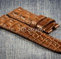 Brown genuine hornback alligator 24/22mm strap
