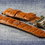 Vintage brown genuine crocodile 24/22mm strap with brushed deployment buckle