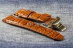 Vintage brown genuine crocodile 24/22mm strap with brushed deployment buckle