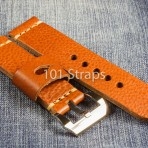 Brown genuine Italian calf 24/24mm strap with polished Pre-V style buckle