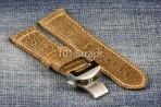 Light brown genuine Italian calf 24/22mm strap with polished deployment buckle