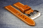 Brown genuine Italian calf 24/24mm strap with polished Submarine buckle (with removable Torpedo)