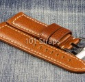 Brown genuine Italian calf 24/22mm strap with polished Pre-V style buckle