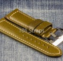 Green genuine Italian calf 24/22mm strap with polished Pre-V style buckle