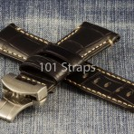 Black genuine alligator 24/22mm strap with brushed deployment buckle
