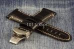 Black genuine alligator 24/22mm strap with brushed deployment buckle