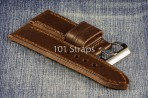 Dark brown genuine Italian calf 24/24mm strap with polished Pre-V style buckle