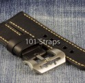 Black genuine Italian calf 24/24mm strap with brushed Submarine buckle