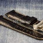 Black faux croc (genuine Italian calf) 24/22mm strap with brushed deployment buckle
