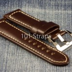 Dark brown genuine Italian calf 24/22mm strap with polished Pre-V style buckle