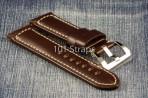 Dark brown genuine Italian calf 24/22mm strap with polished Pre-V style buckle