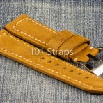 Light brown genuine Italian calf 24/22mm strap with polished Pre-V style buckle