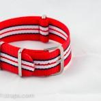 Red/Black/White NATO Band 20mm